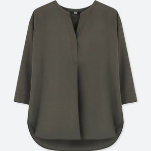 Uniqlo - Skipper Collar 3/4 Sleeve Blouse - Olive